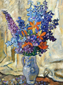 Louis Valtat - Lilies and Delphiniums Stoneware Pitcher, 1920
