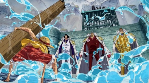 one piece wallpaper titled Luffy & 3 Admirals