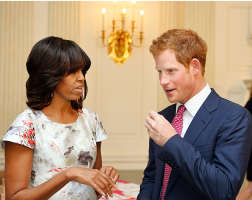 Michelle Talking With Prince Harry