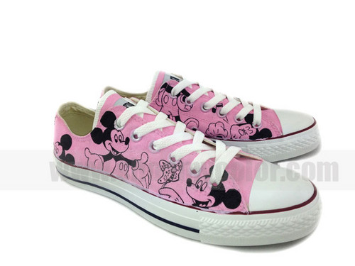 Mickey mouse hand painted pink shoes