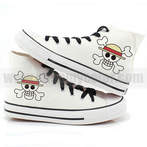 One Piece wallpaper possibly containing an iron titled One Piece Pirates Flags canvas sneakers