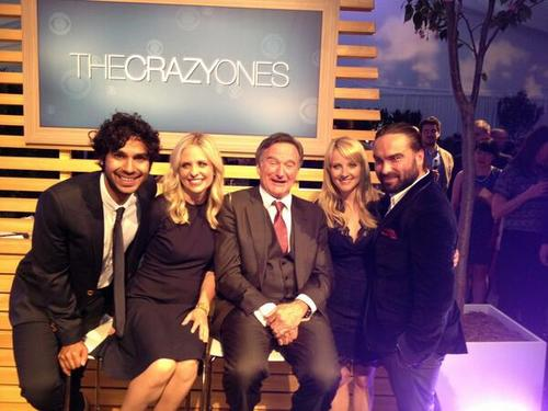Sarah and Robin Williams with the cast of The Big Bang Theory