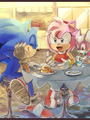 Sonic and Amy - sonic-the-hedgehog fan art