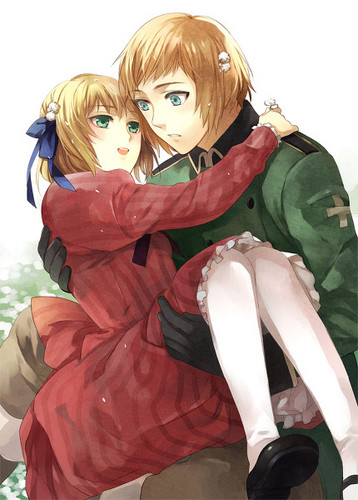 Hetalia Couples! karatasi la kupamba ukuta probably with a surcoat, an overgarment, and a kirtle titled Switzerland and Liechtenstein