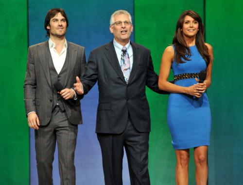 The CW's 2013 Upfront: Ian Somerhalder and Nina Dobrev with The CW's President Mark Pedowitz