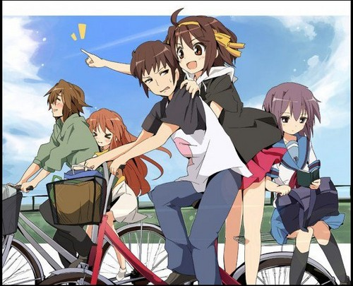 The Melancholy of Haruhi Suzumiya wallpaper probably with a velocipede and anime titled The Melancholy of Haruhi Suzumiya