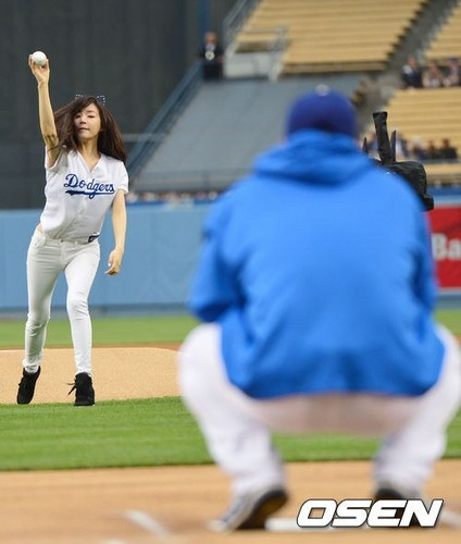 Tiffany's 1st pitch @ Dodger's Game