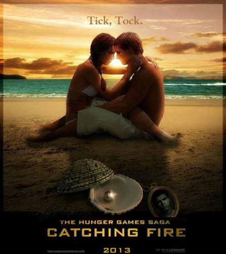 Catching Fire wallpaper with a beach, a sunset, and an oceanfront called ticktock love