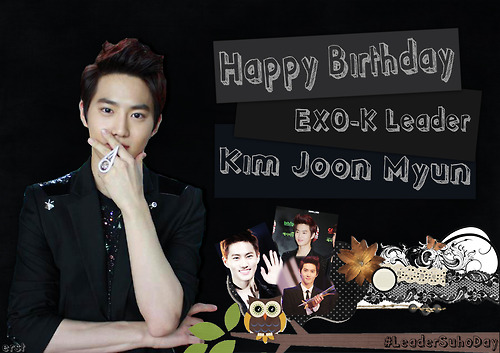 EXO-K fondo de pantalla probably containing a business suit and a well dressed person called ♥Happy Birthday Suho~♥