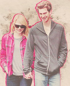 Andrew 가필드 and Emma Stone 바탕화면 probably containing an outerwear entitled » andrew & emma «