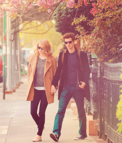 Andrew Garfield and Emma Stone پیپر وال with a hip boot titled » andrew & emma «