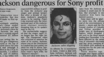 Michael Jackson Hintergrund containing a newspaper entitled A Newspaper Artikel Pertaining To Michael
