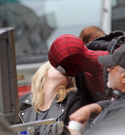 Andrew & Emma on set of Spiderman 2