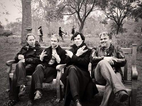 Benedict & Martin on set of Sherlock S3
