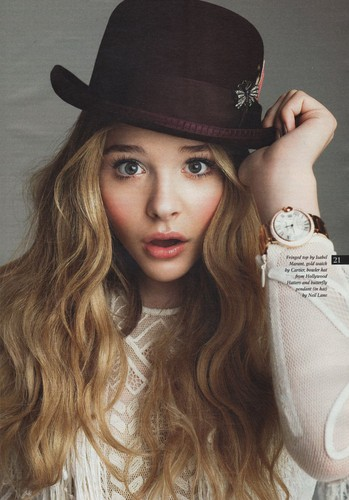 Chloe Moretz پیپر وال with a fedora, a boater, and a campaign hat titled Chloe Moretz | Magazine Scans