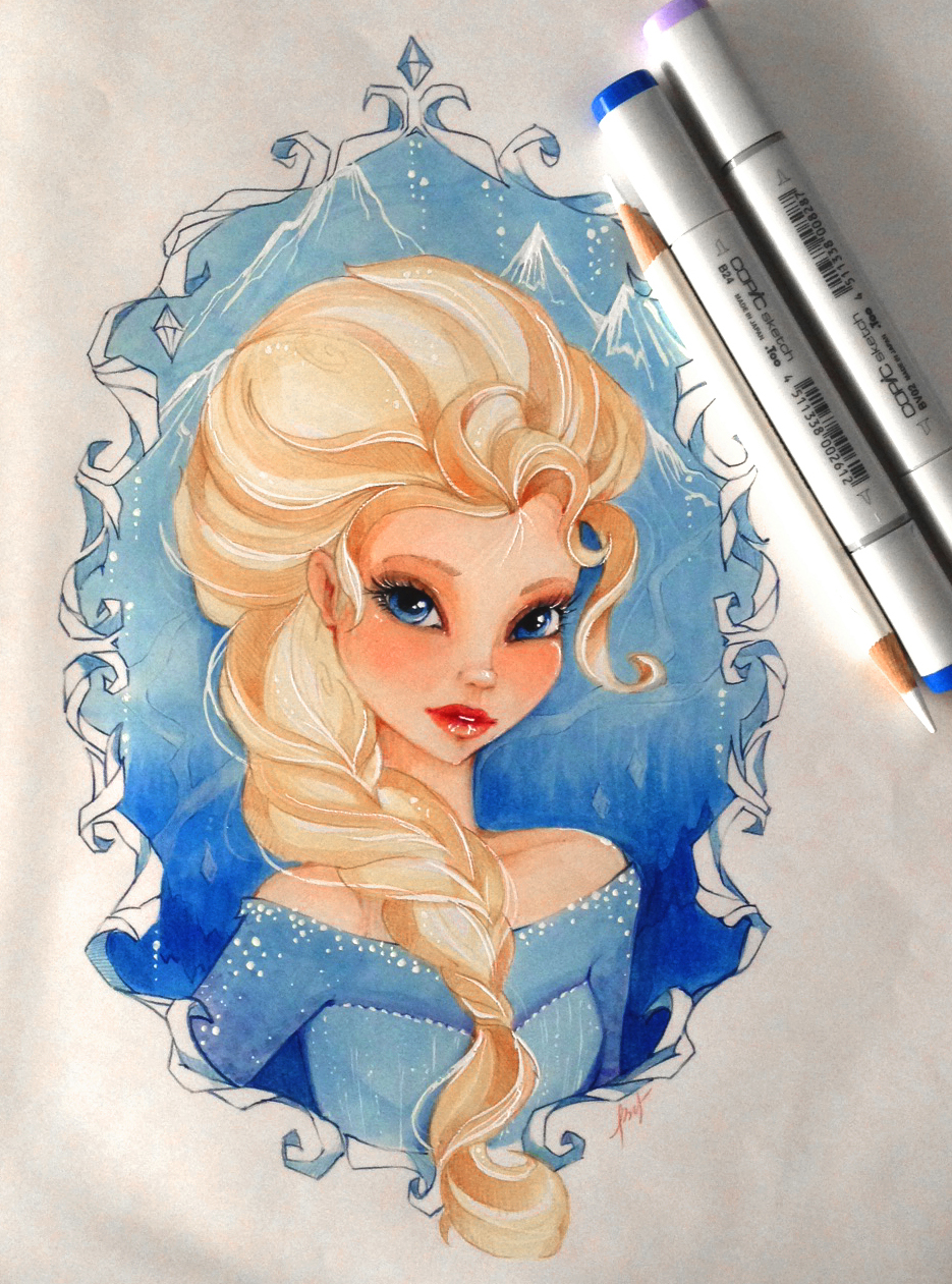 Elsa Disney Princess Fan Art 34593437 Fanpop Princess Elsa Drawing