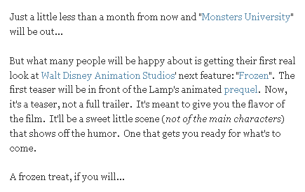 Frozen Teaser will be in front of Monsters University