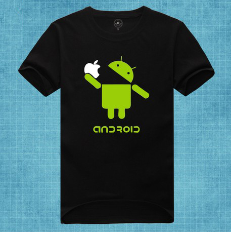 Google Android Eat táo, apple spoof logo funny t áo sơ mi