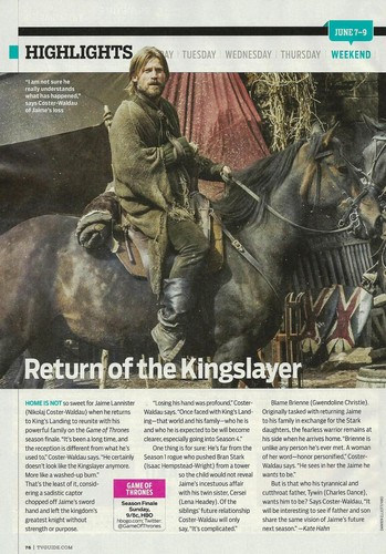 Jaime Lannister returns, TV Guide Scan