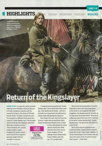 Jaime Lannister returns, TV Guide Scan