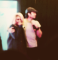 Kat and Ian hugging at the convention in Paris - damon-and-bonnie photo