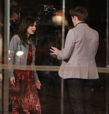 "Lily and Sam Claflin filming ""Love, Rosie"" in Toronto, Canada (May 14th 2013)"