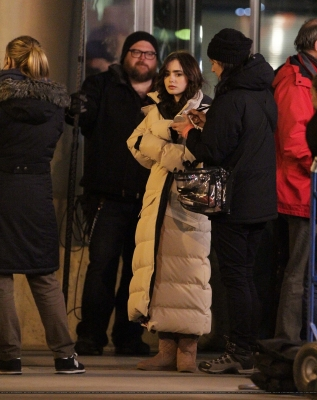 """Lily and Sam Claflin filming """"Love, Rosie"""" in Toronto, Canada (May 14th 2013)"""