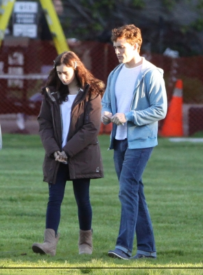 """Lily and Sam Claflin filming """"Love, Rosie"""" in Toronto, Canada (May 16th 2013)"""