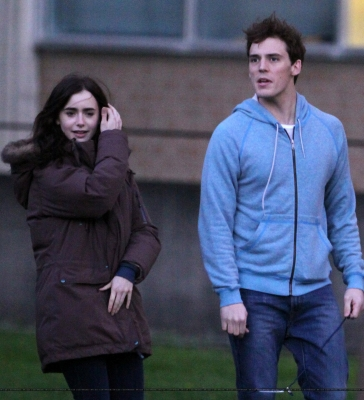 "Lily and Sam Claflin filming ""Love, Rosie"" in Toronto, Canada (May 16th 2013)"