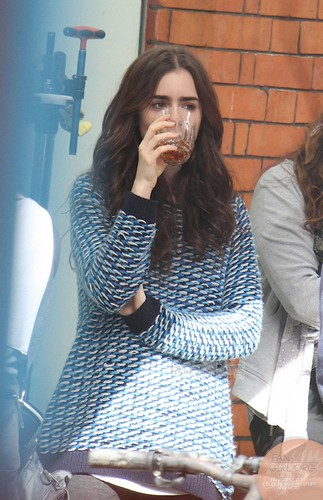 """Lily filming """"Love, Rosie"""" in Dublin, Ireland (27th May 2013)"""