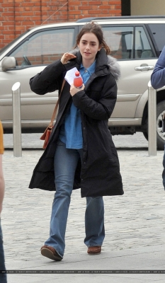 "Lily filming ""Love, Rosie"" in Dublin, Ireland (May 20th 2013)"