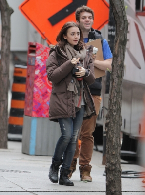 """Lily filming """"Love, Rosie"""" in Dublin, Ireland (May 20th 2013)"""