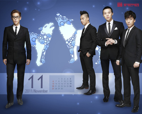 big bang wallpaper with a business suit, a suit, and a three piece suit titled Lotte Duty Free Official wallpaper Calendar