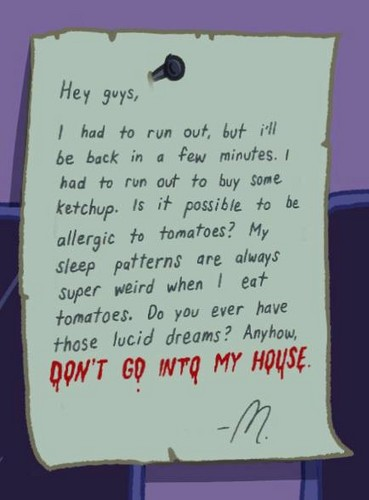 Marceline's Closet: The Note on Marcy's Door
