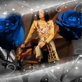 Michael surrounded by beautiful blue roses - michael-jackson photo