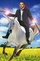 Obama riding unicorn