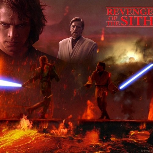 bintang Wars: Revenge of the Sith wallpaper with a fire, a fire, and a konser entitled Obi-Wan VS Anakin Mustafar