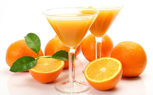 Orange wallpaper with a vodka martini, a martini, and a margarita called Orange Fruit