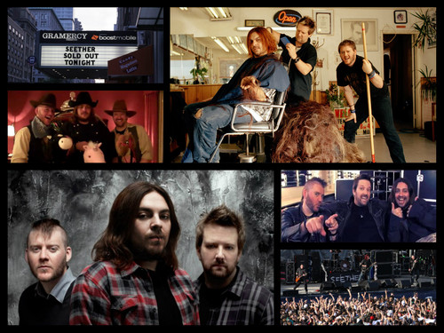 Seether 바탕화면 probably with a sign, a newsstand, and 아니메 entitled Seether Forever