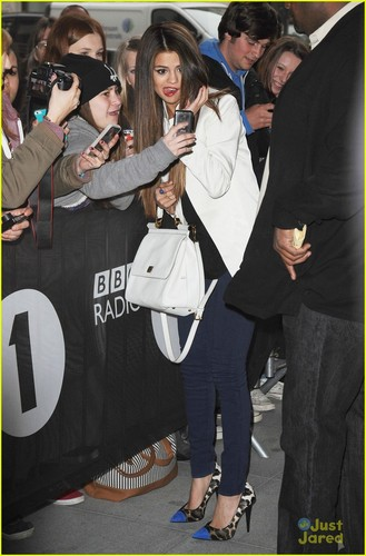 Selena at outside of BBC radio 1,London in may 22,2013