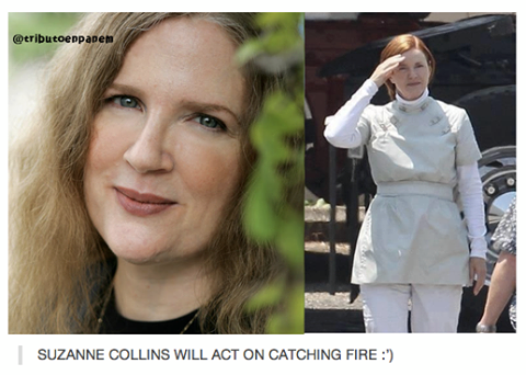 Catching moto karatasi la kupamba ukuta containing a portrait titled Suzanne Collins will act on 'Catching Fire'!