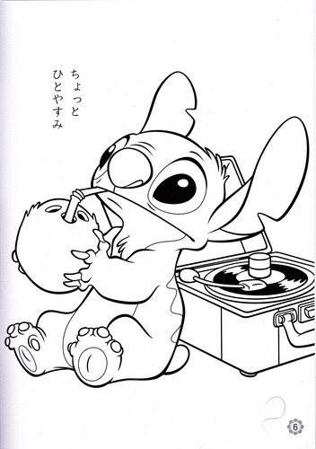 Walt Disney Characters wallpaper possibly containing anime entitled Walt Disney Coloring Pages - Stitch