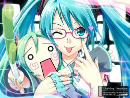 hatsune miku kiding around >.<