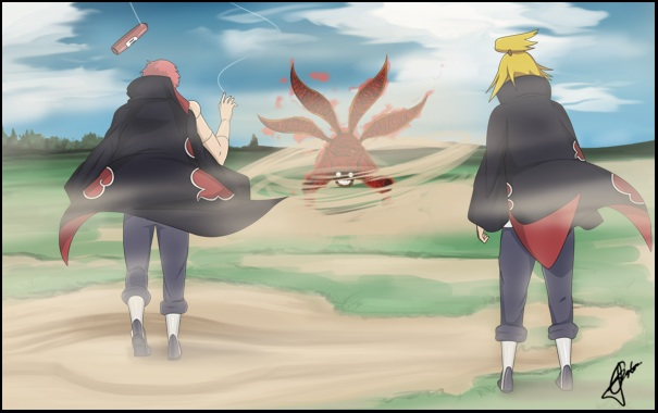 Sasori And Deidara Vs Four Tails Naruto Akatsuki Fan Art 34536140 Fanpop