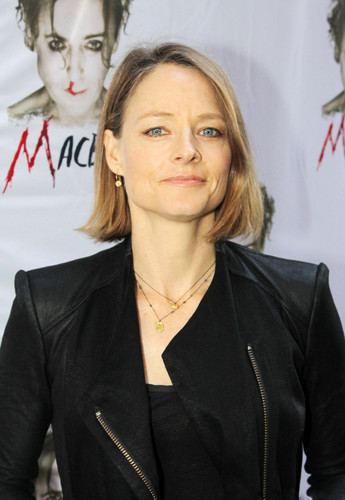 "Jodie Foster achtergrond with a business suit, a well dressed person, and a suit titled ""Macbeth"" Broadway Opening Night 2013"