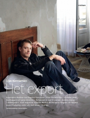 Joel Kinnaman achtergrond with a living room and a drawing room called AUDI MAGAZINE - AUGUST 2011