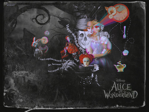 Alice in Wonderland (2010) wallpaper probably with a sign titled Alice in Wonderland!