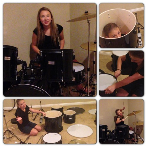 Anna setting up her lil bro's drums