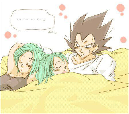 Bulma, Bra and Vegeta to the cama