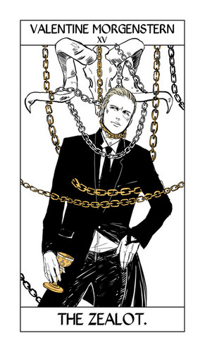 cazadores de sombras fondo de pantalla probably with a surcoat, a tabard, and anime entitled Cassandra Jean's Tarot Cards: Valentine Morgenstern {The Zealot}.
